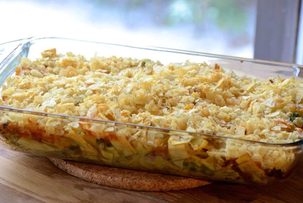 Old-school tuna casserole just out of the oven