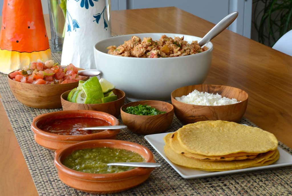 Make your own turkey tacos station