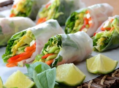 A tray of Rice Paper Veggie Rolls