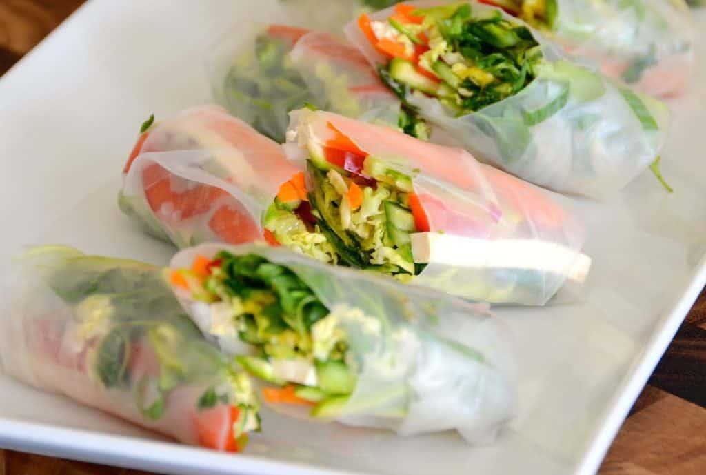A platter of vegetable salad rolls