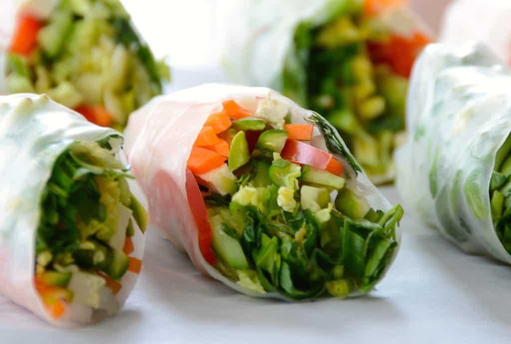 Close up of Vegetable Salad Rolls