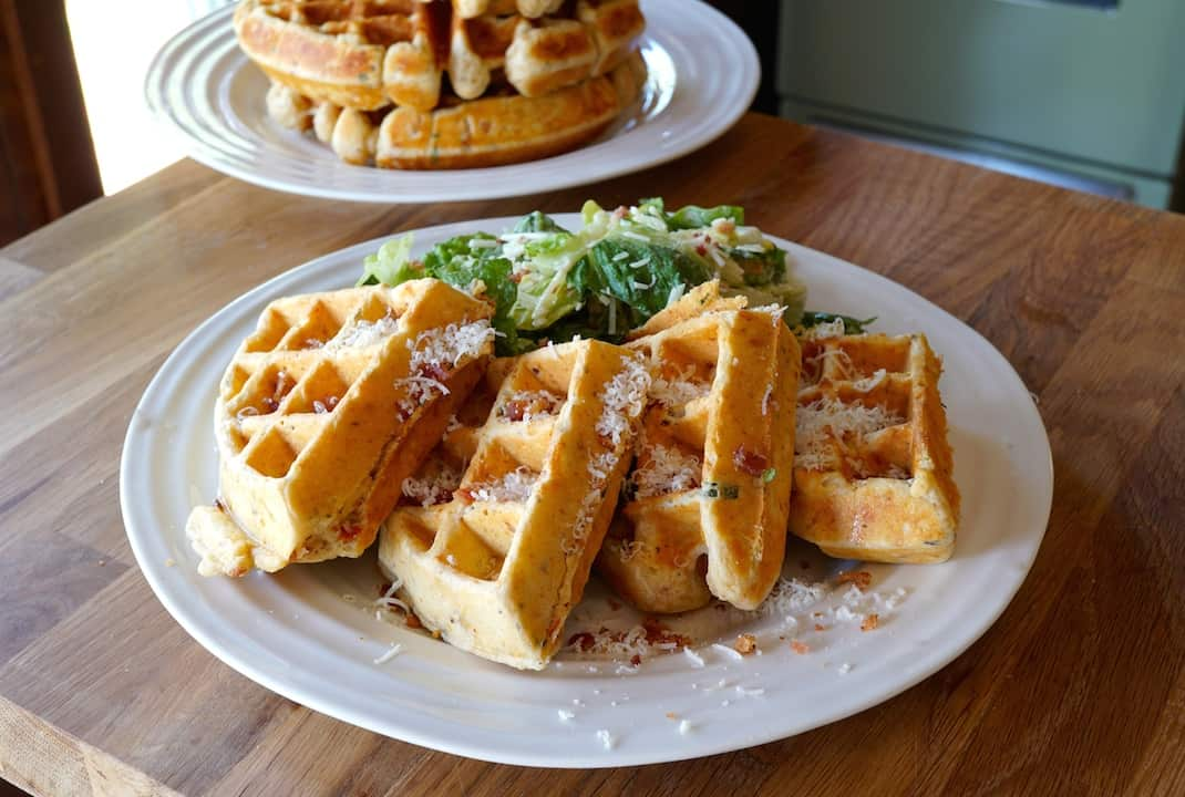 Savoury Waffles with Bacon and Parmesan