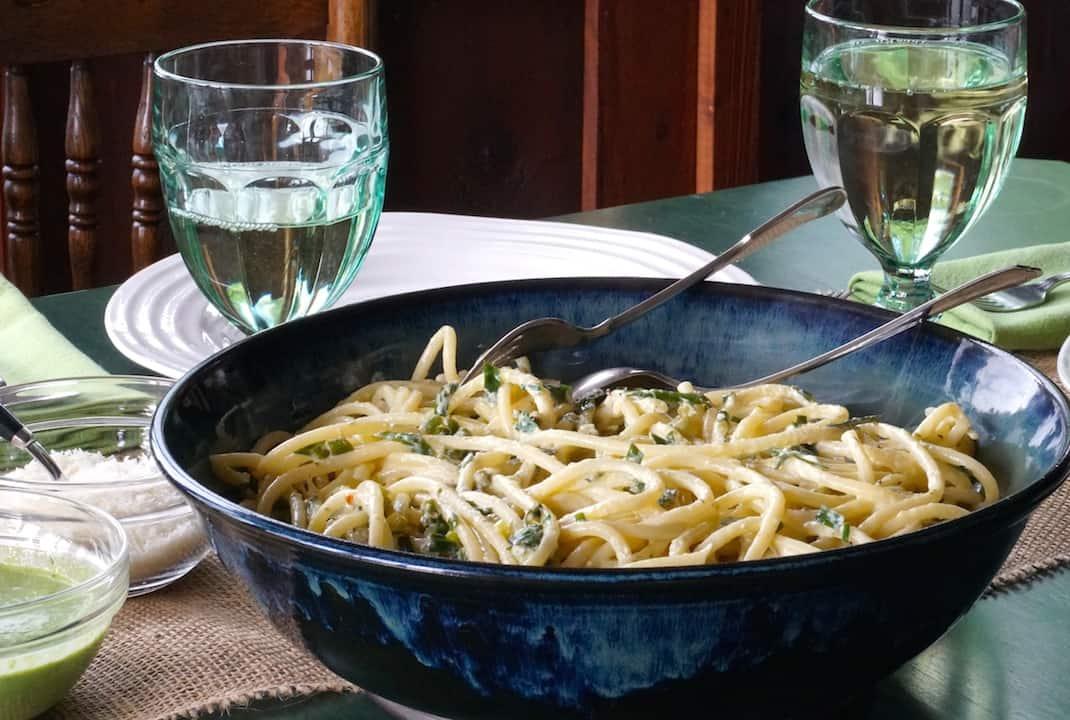 Bucatini with Lemon Garlic Chive Pesto