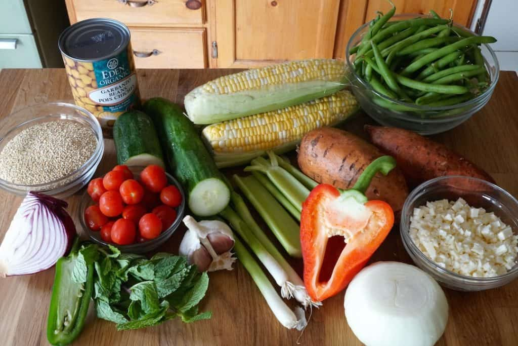 Ingredients for the cottage salad recipe
