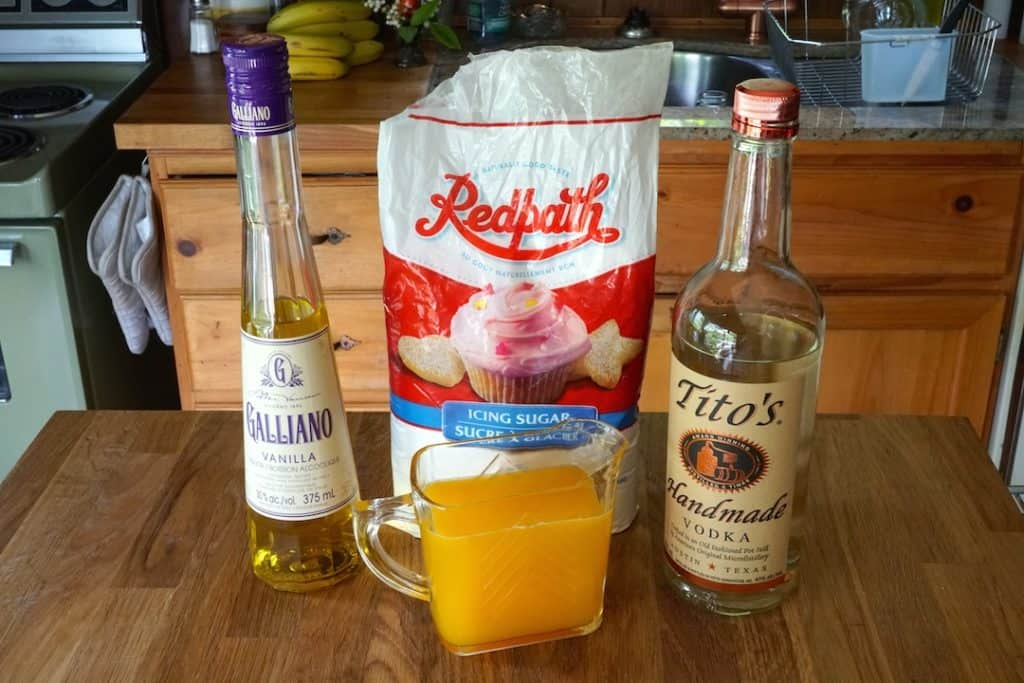Harvey Wallbanger Cake ingredients for the glaze