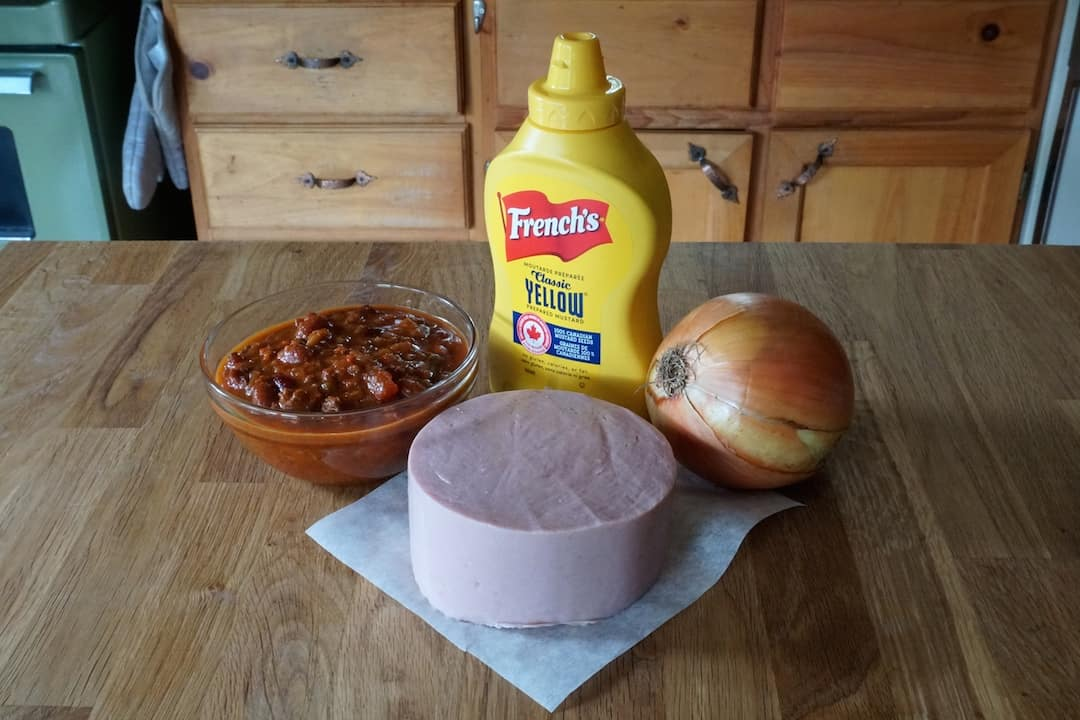 Ingredients for the Coney Island Burger