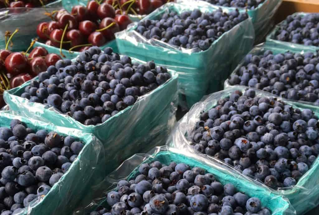 Wild Blueberries for sale at the local market