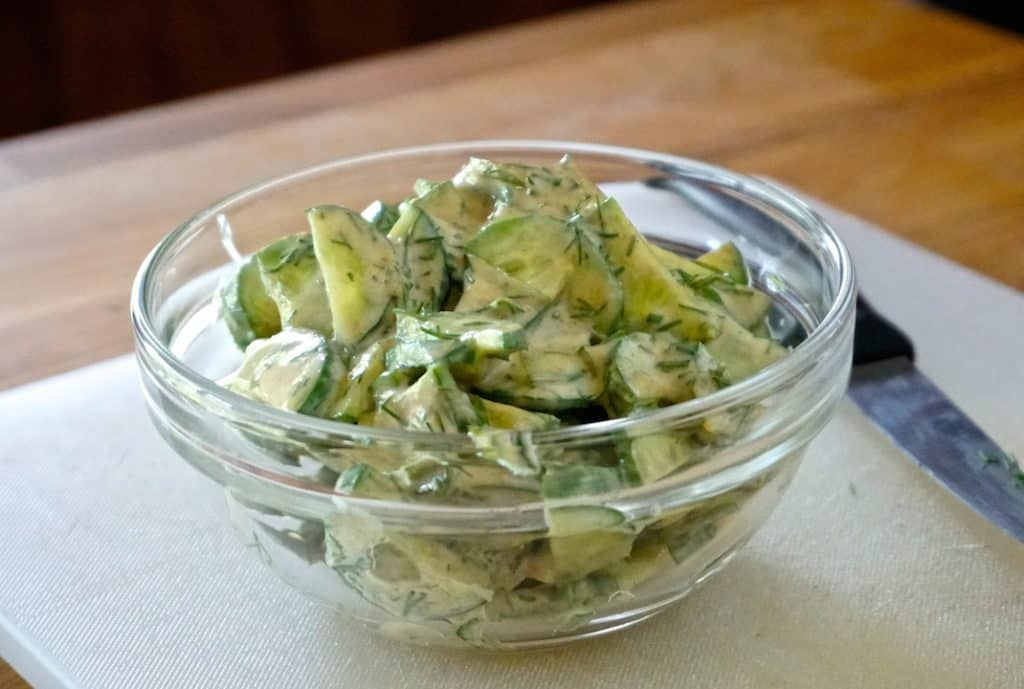 The cucumber, garlic and yoghurt topping