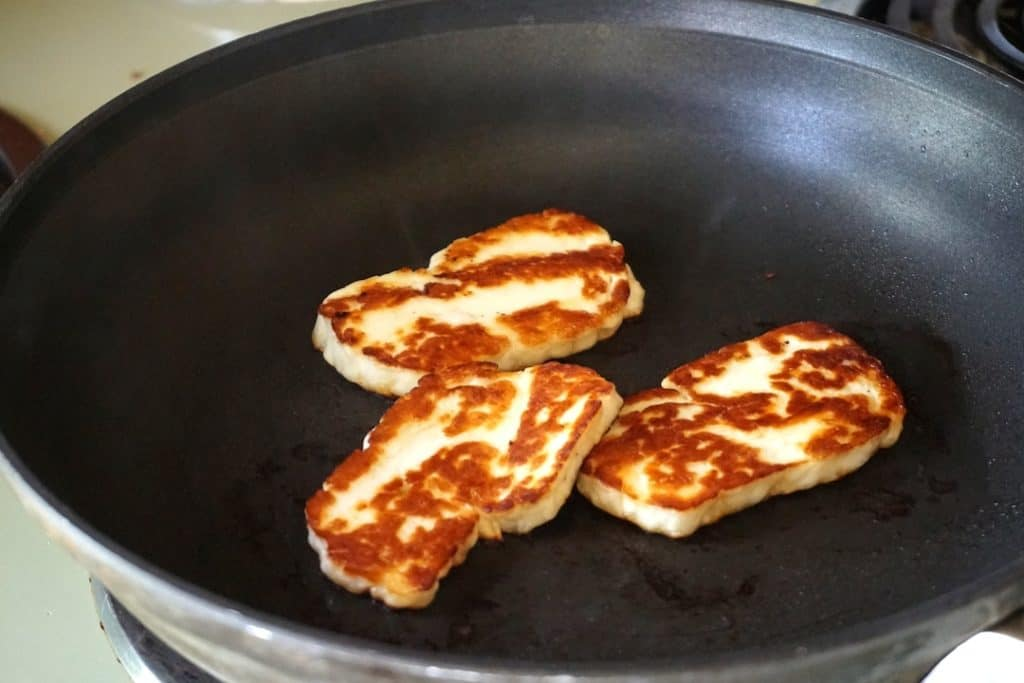 Seared haloumi cheese for the top of the burgers