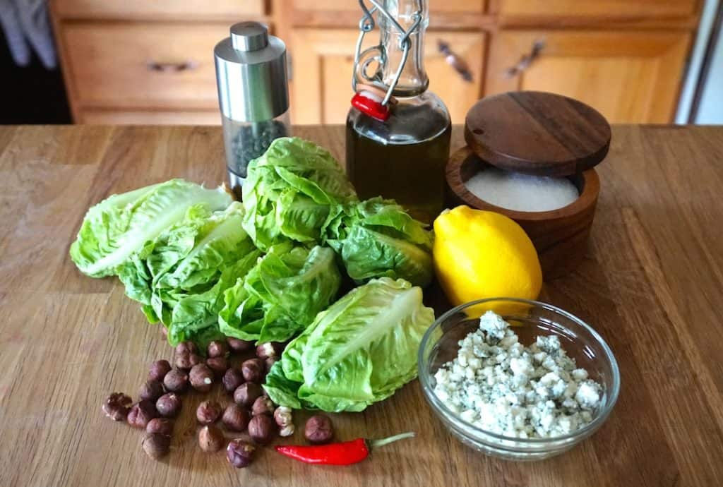 Ingredients for the Grilled Baby Romaine Salad