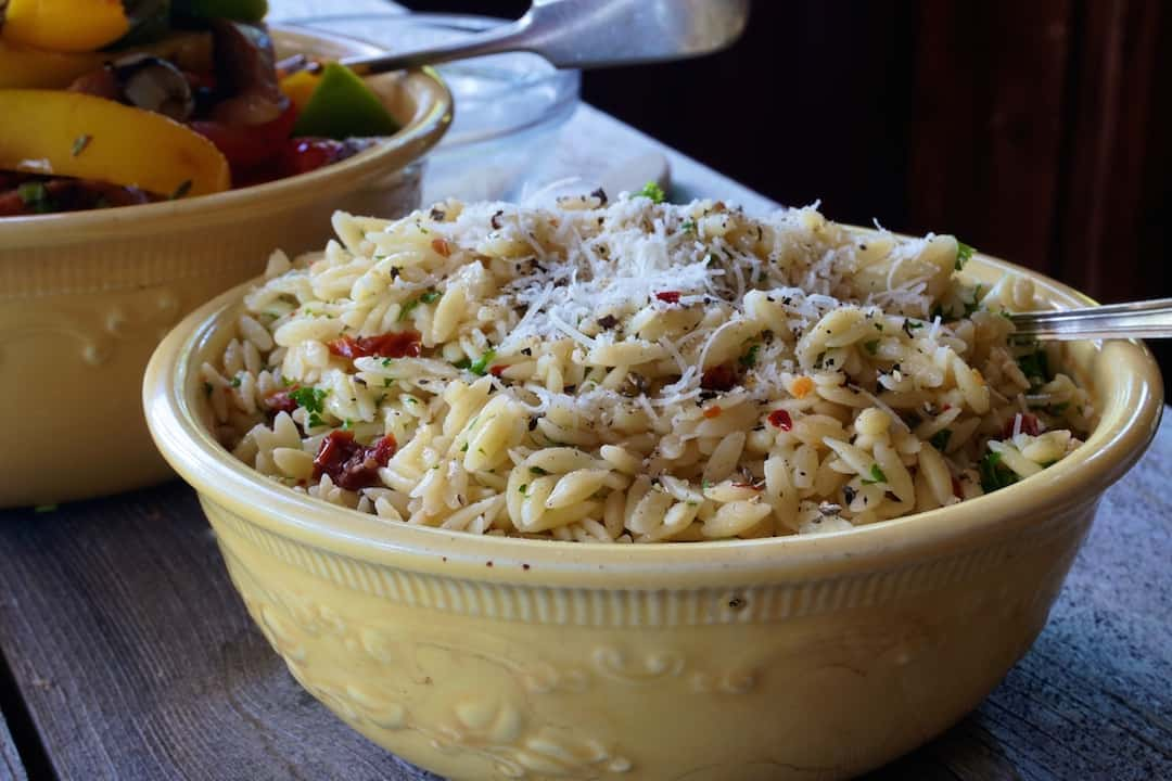 Grilled Hot Italian Sausage with Orzo