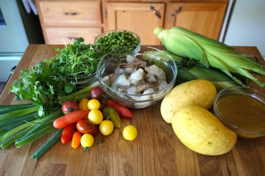 Ingredients for Grilled Shrimp Salad