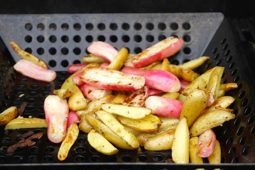 Grilling fingerling potatoes and French breakfast radishes for the salad