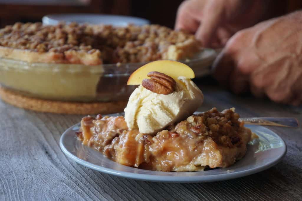 Peach Pie with Crumble topping