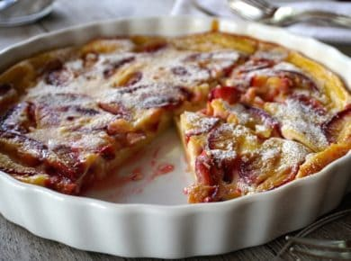 Plum Clafoutis with Orange and Coriander