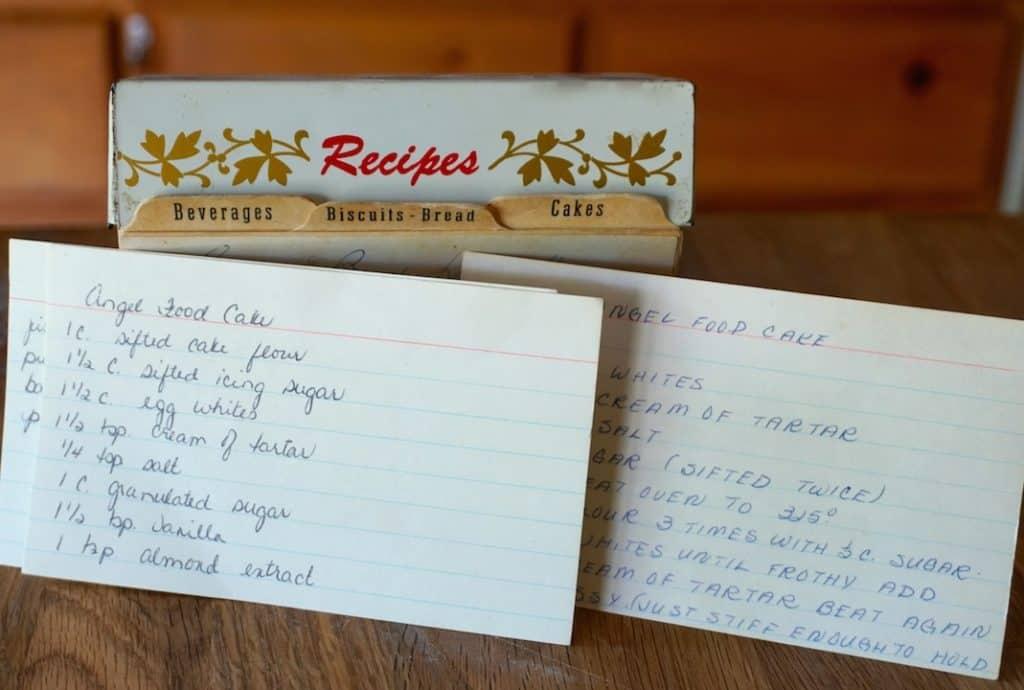 Original hand-written recipe cards