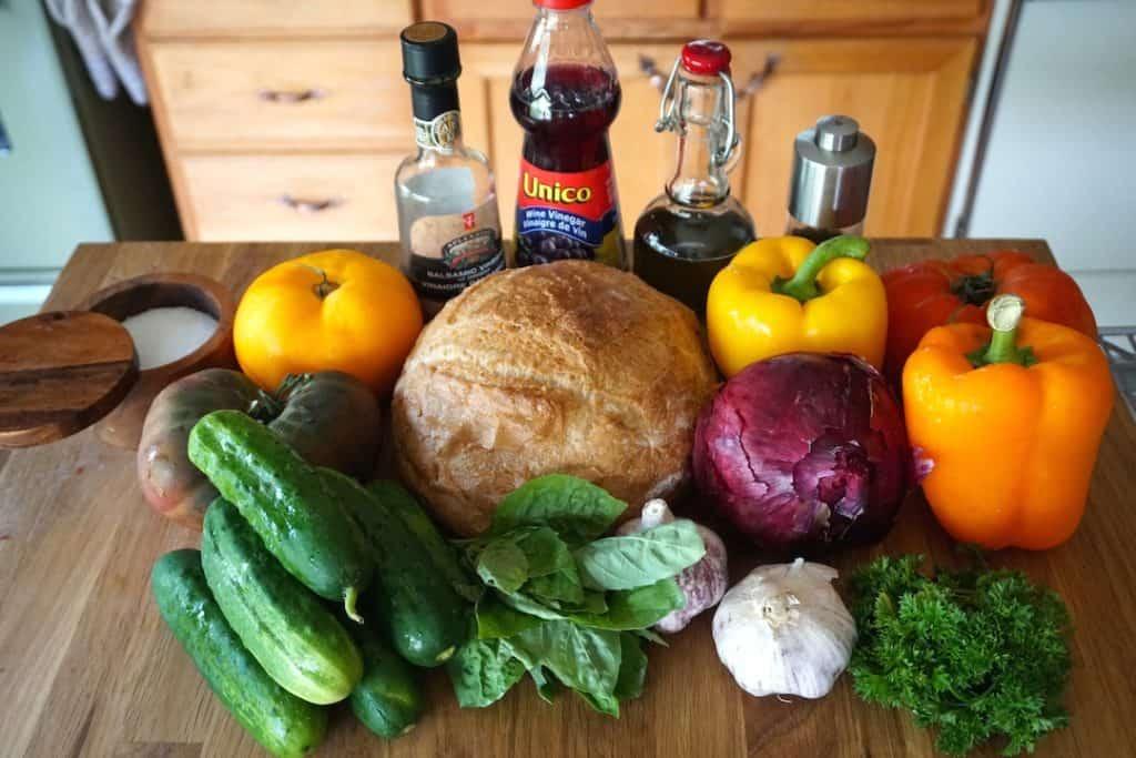 Ingredients for Panzanella Bread Salad