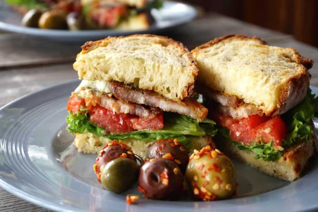 Pork Belly Lettuce Tomato Sandwich