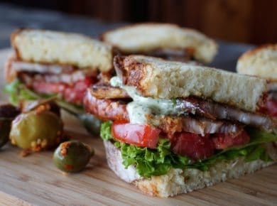 Pork Belly Sandwich with Lettuce and Tomato