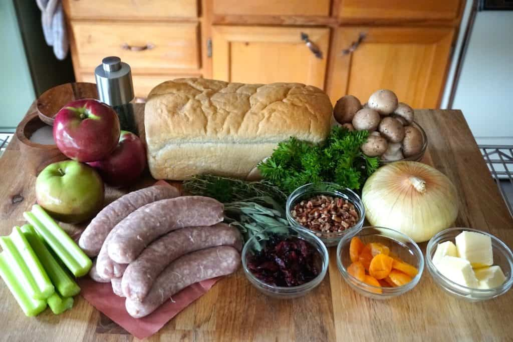 Ingredients for the Sausage Dressing Recipe