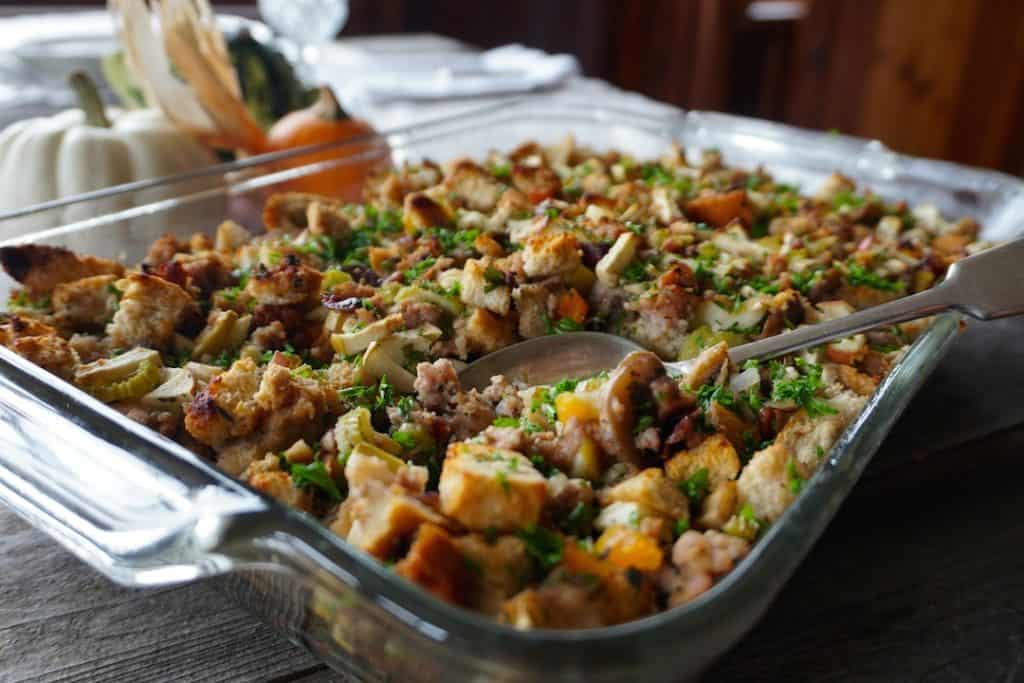 Sausage Dressing Recipe prepared in a casserole dish