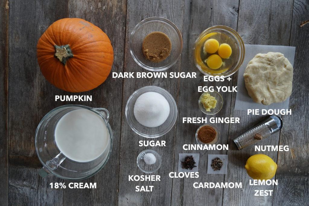 Ingredients for Spiced Pumpkin Pie