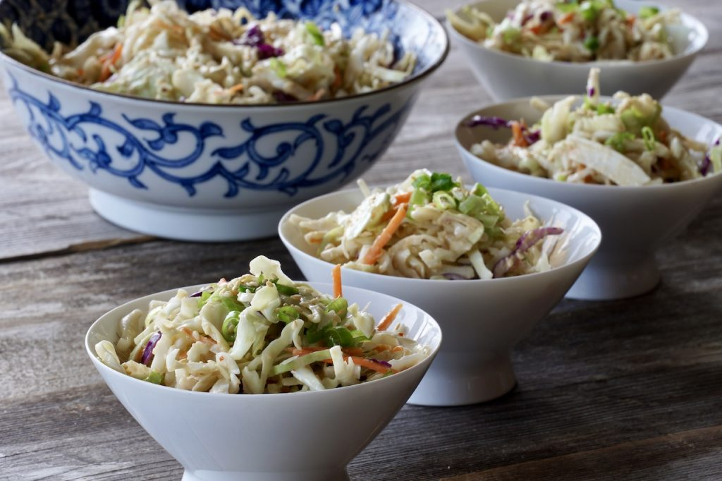 The Asian slaw served into small bowls