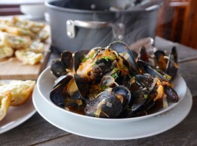 A bowl of Steamed Mussels Recipe