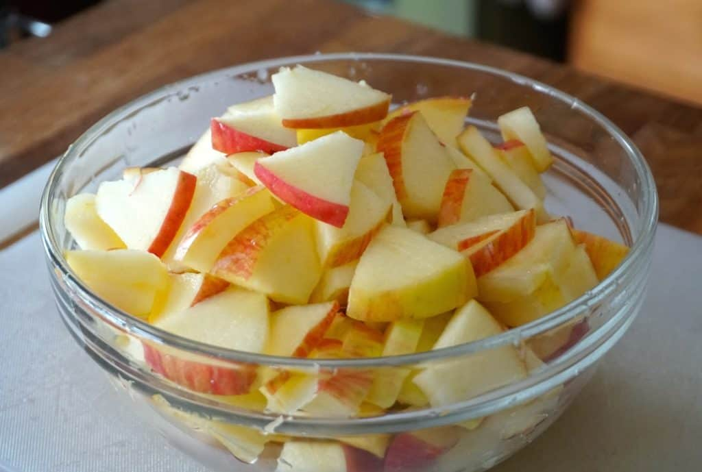 Chopped apples for the dressing