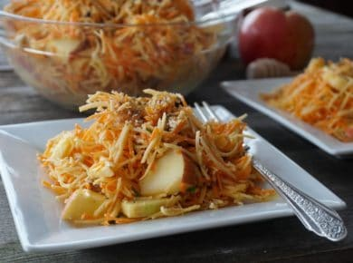 Crunchy Salad with Apple served on a square luncheon plate