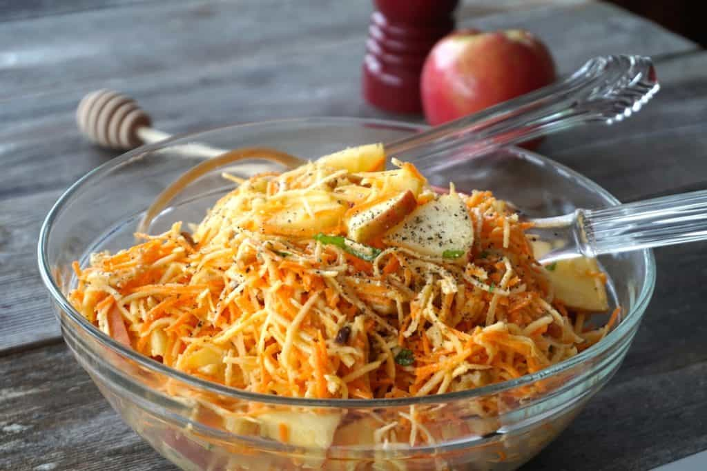 A big bowl filled with Crunchy Salad with Apple