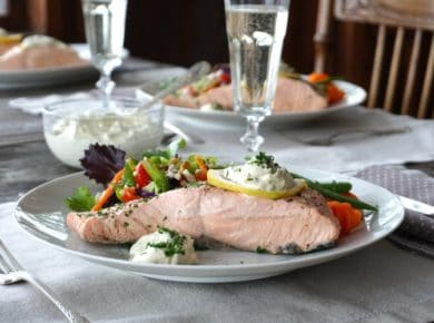 Poached Salmon Fillets served