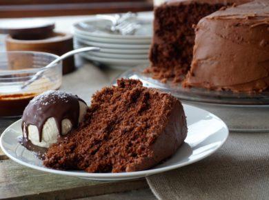 Chocolate Celebration Cake served on a plate