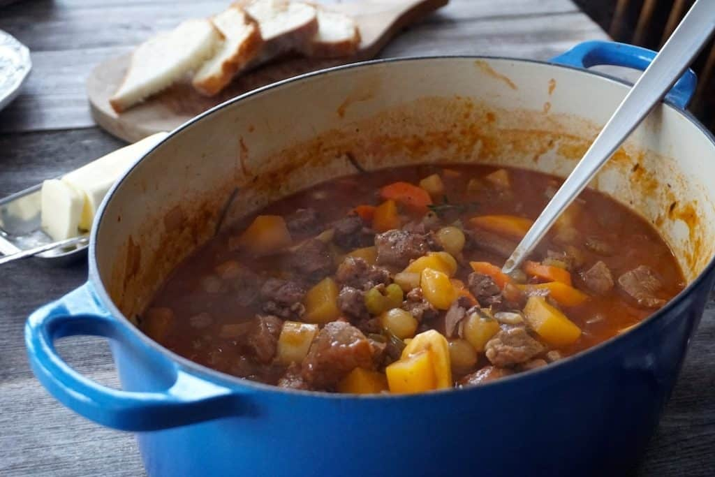 A Dutch oven filled with Easy Lamb Stew Recipe