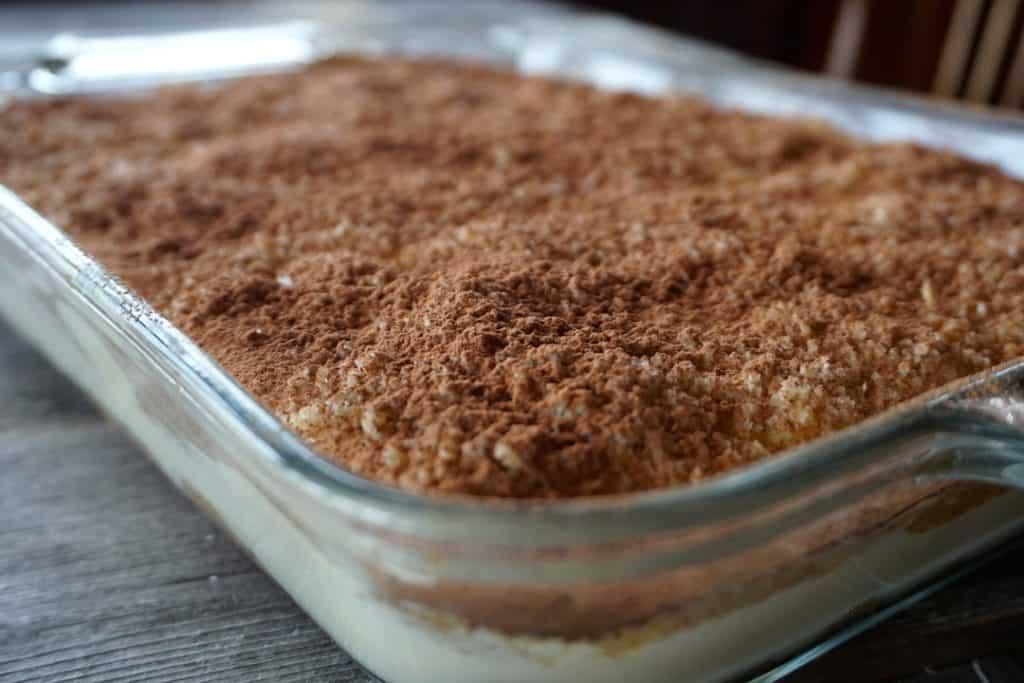 A close up of the cocoa powder on our Homemade Tiramisu