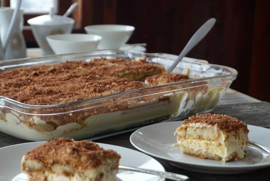 A dessert buffet featuring Homemade Tiramisu