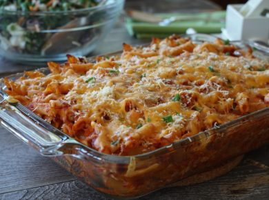 Tomato Chicken Pasta Bake fresh out of the oven
