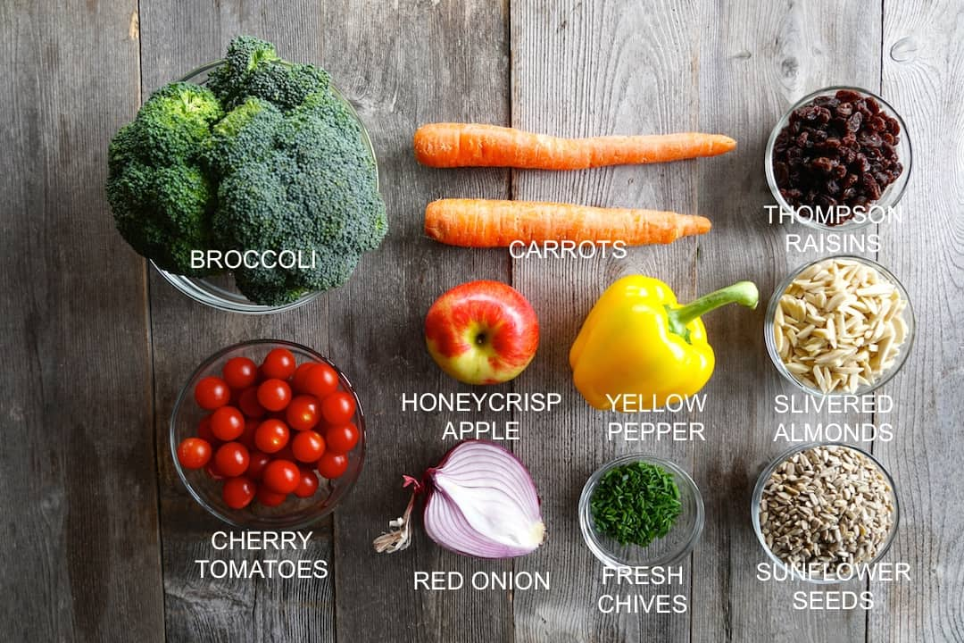 Ingredients for The Best Broccoli Salad