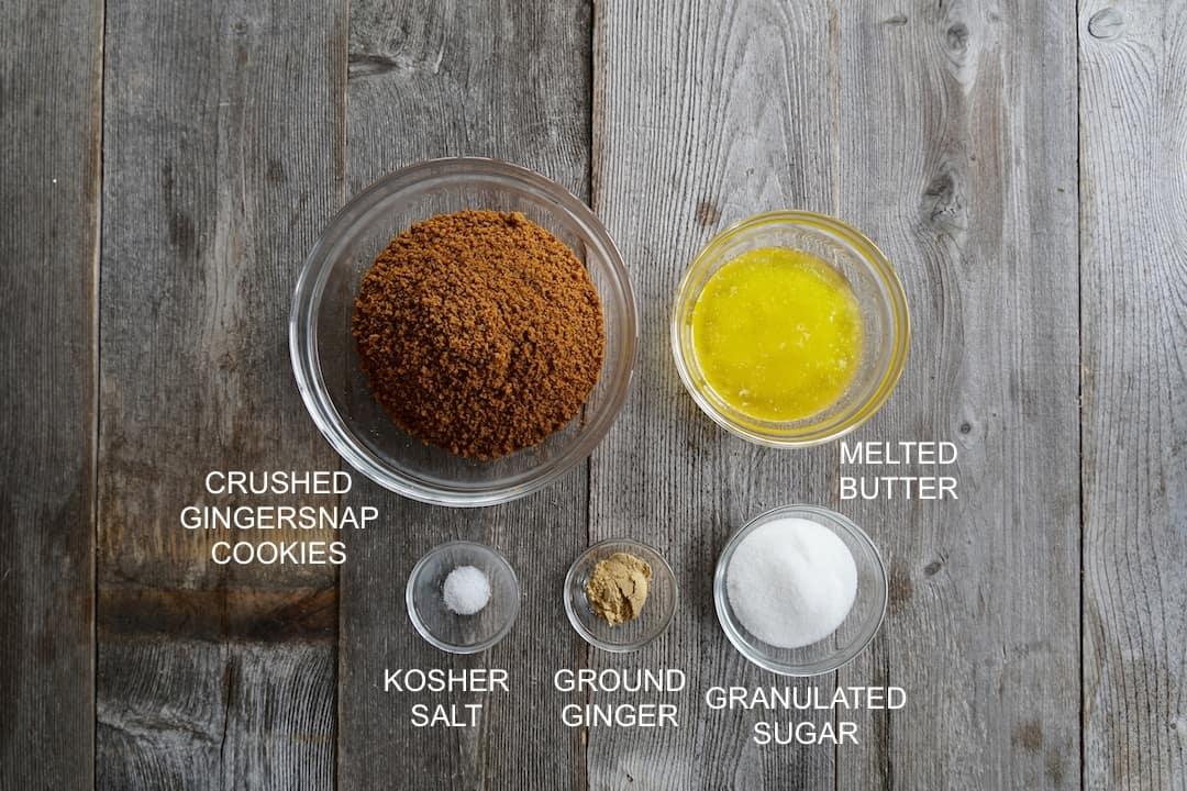 Ingredients for the gingersnap pie crust