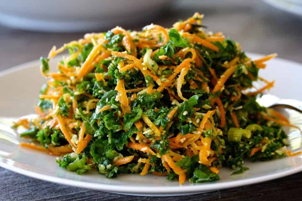 Extreme close up of our Kale, Carrot & Parmesan Salad