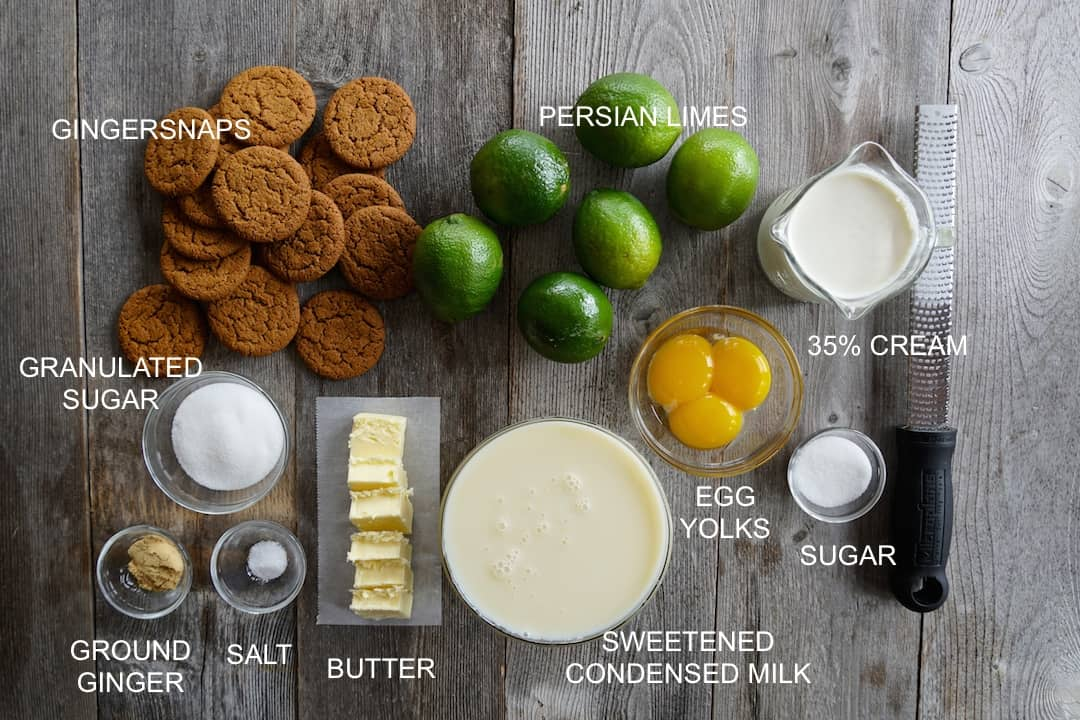 Ingredients for the Lime Pie Recipe
