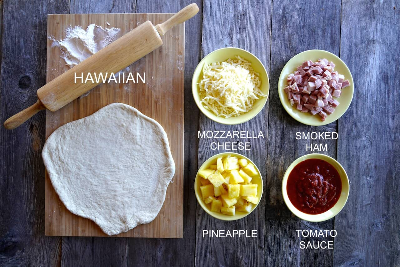 Ingredients for a Hawaiian Pizza