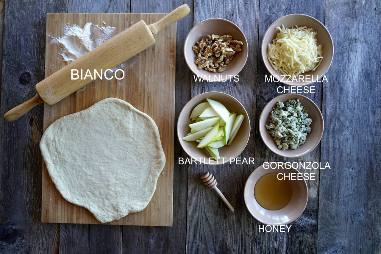 Ingredients for a white pizza