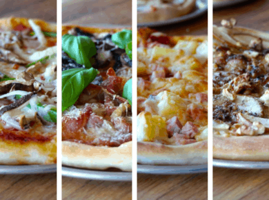 The four pizzas for our Pizza Party Ideas
