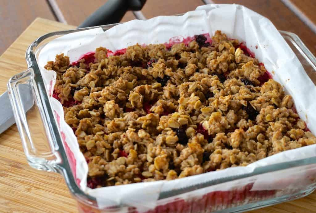 Berry Pecan Crumble Bars just out of the oven