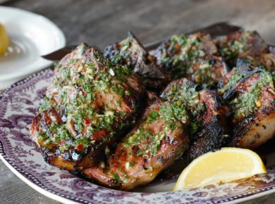 A platter of the Grilled Lamb Loin Chops