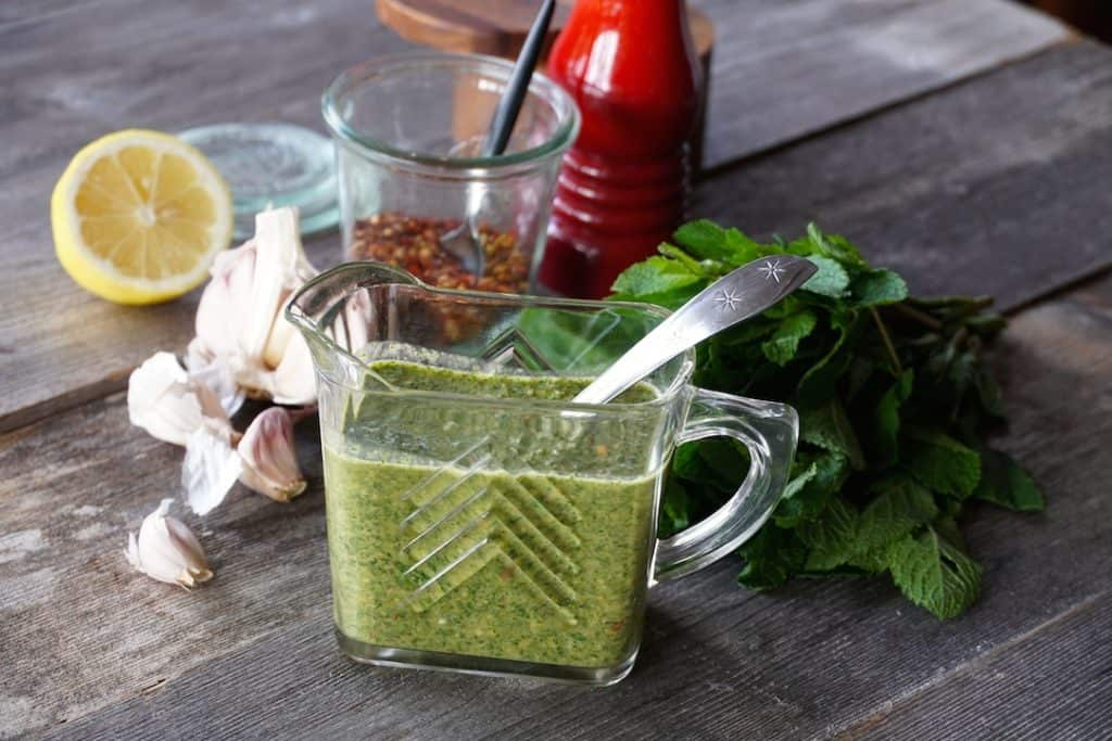 Mint Chimichurri for the grilled lamb chops