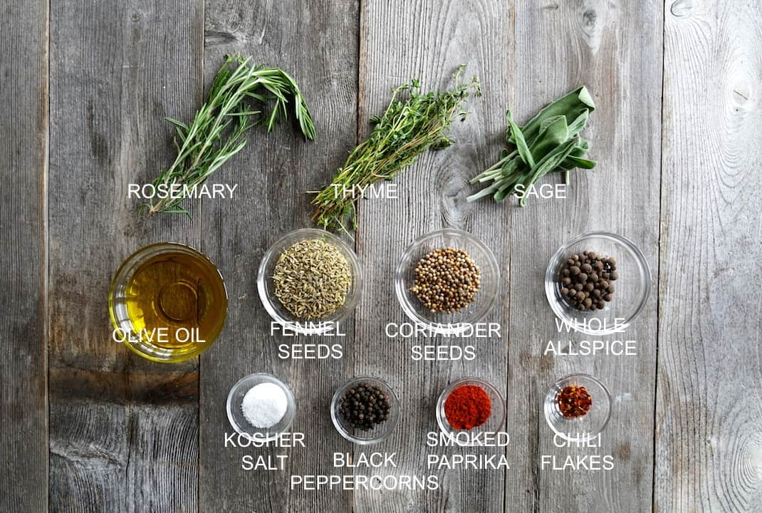Ingredients forTuscan-Style Grilled Ribs