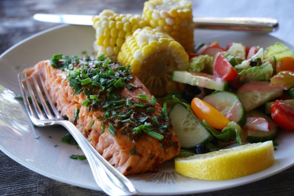 Barbecued Salmon fillet plated for dinner