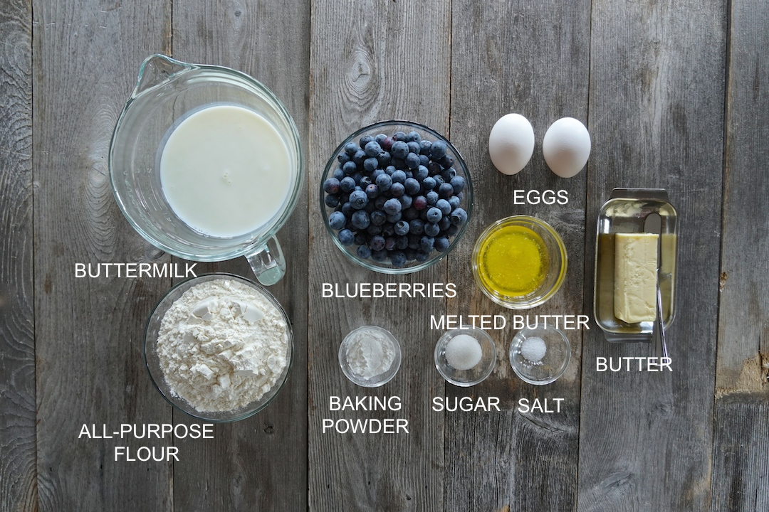 Ingredients for Blueberry Buttermilk Pancakes